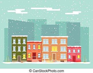winter., plat, vecteur, ville