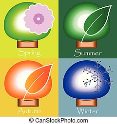 winter., printemps, automne, -, quatre saisons, été