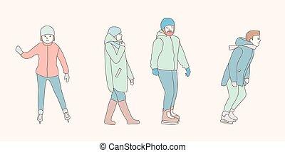 winter., style, vecteur, gens, griffonnage, parc, couple., glace, main, hommes, arrière-plan., patin, conception, patinoire, illustrations, dessiné, blanc, femme