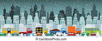 (winter), ville, confiture, trafic