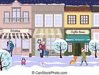winter., ville, marche, vecteur, city., hiver, gens, chaussée, maison, neigeux, café, plat, noël, rue, dogs., illustration, petit, magasins, style., vue