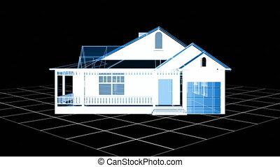 wire-frame, maison