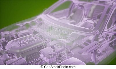 wireframe, 3d, holographic, voiture, modèle, animation