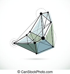 wireframe, illustration., géométrique, vecteur, constitué, objet, résumé, 3d, technologie