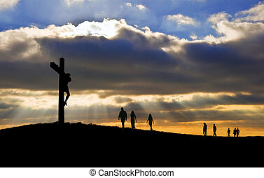 witth, marche, bon, silhouette, christ, gens, vendredi, haut, croix, vers, colline, crucifixion, jésus, paques