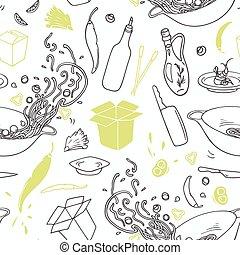 wok, elements., restaurant, modèle, seamless, main, stylisé, hipster, fond, dessiné