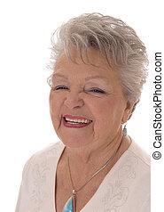 woman., portrait, personne agee, sourire