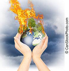 womanish, earth., tenue, brûlé, mains