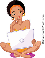 womanwith, africaine, ordinateur portable