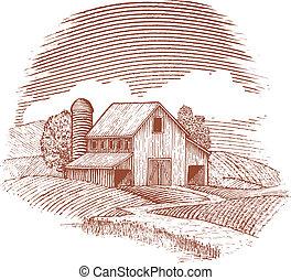 woodcut, grange