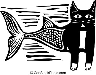 woodcut, poisson-chat