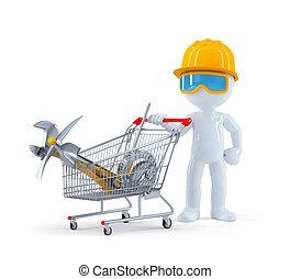 worker/builder, construction, entiers, outils, charrette