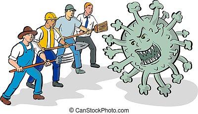 workers-fighting-coronavirus-cartoon