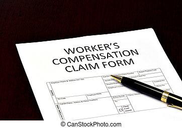worker's, réclamation, compensation, formulaire, application