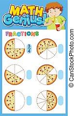 worksheet, math, fractions, conception, pizza, gabarit