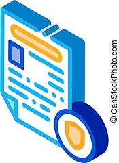 worksheet, vecteur, isométrique, rapport, police, icône, illustration