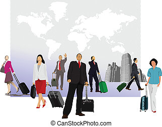 worl, valise, homme, business