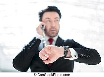 wristwatch., regarder, homme affaires, cadre