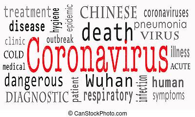 wuhan, coronavirus., étiquette, jaune, mot, coronavirus, nuage, concept, arrière-plan.