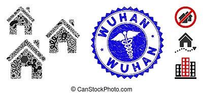 wuhan, healthcare, gratté, mosaïque, viral, bâtiments, village, cachet, icône