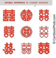 xi, shuang, chinois, happiness), symbole, (double, vecteur, ensemble