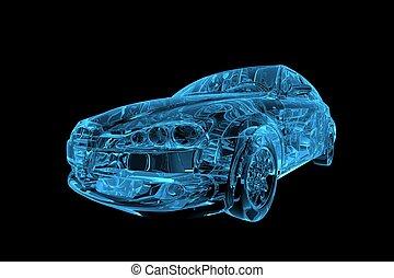 xray, voiture, bleu, transparent, 3d