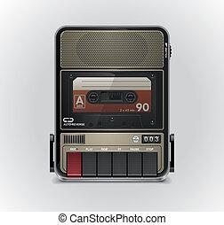 xxl, enregistreur, vecteur, cassette, icône