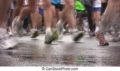 xxx, marathon., moscou, paix, international, jambes, coureurs