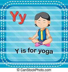 y, flashcard, yoga, lettre