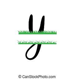 y, initiale, vecteur, monogram, fente, isolé, lettre, herbe