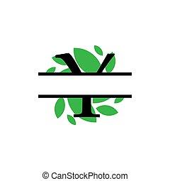 y, initiale, vecteur, monogram, feuille, fente, isolé, lettre, vert