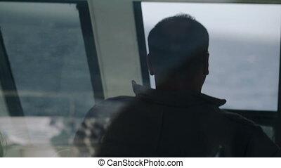 yacht, conduite, homme