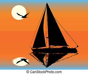 yacht, silhouette