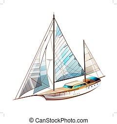 yacht, voile, illustration
