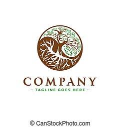 yang, conception, arbre, logo, yin