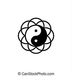 yang, gabarit, vecteur, yin, logo
