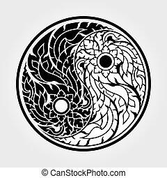 yang, yin, art, motifs, -, thaï, vecteur