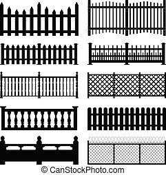 yard, barrière, piquet, bois, parc, câble