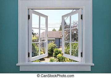yard, dos, fenêtre, petit, shed., ouvert