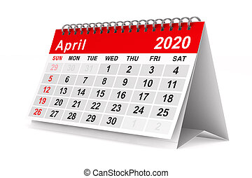 year., isolé, 2020, april., calendrier, illustration, 3d