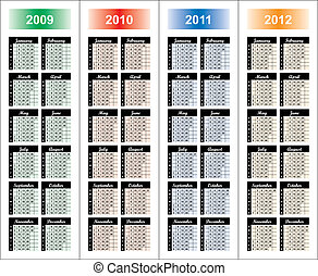 years., calendrier, 2009-2012