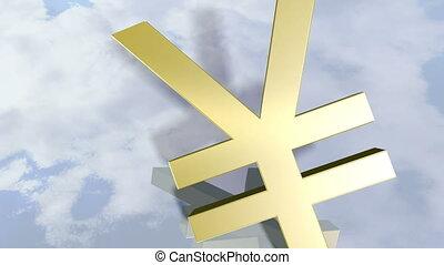 yen, brillant, signe., animé, 3d, rendre, 4k, argent