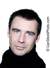 yeux bleus, portrait, homme souriant, caucasien, beau