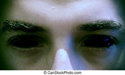 yeux, démon, mal, figure, regarder, noir