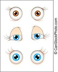 yeux, dessin animé, femme