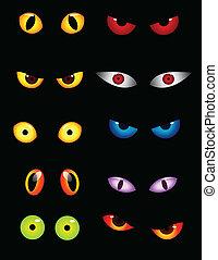 yeux, ensemble, animal