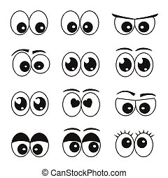 yeux, ensemble, dessin animé