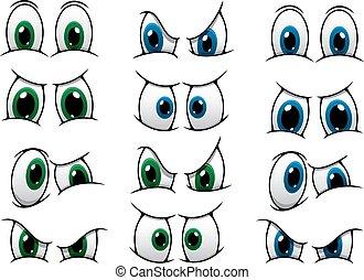 yeux, ensemble, projection, divers, expression, dessin animé