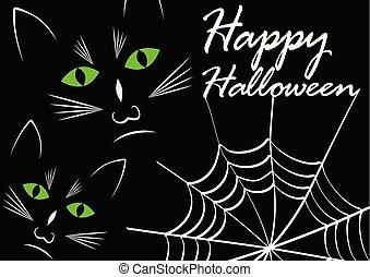 yeux, halloween, dessin, chat, sombre, chats, noir, cobweb., fond, vert, message, heureux, blanc, briller