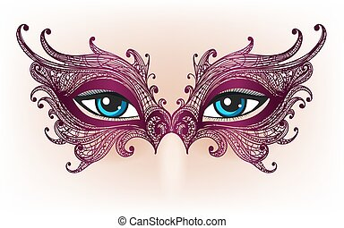 yeux, masque, dentelle, femme